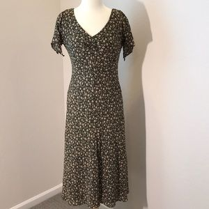 Jones New York Vintage Printed Crepe Midi Dress